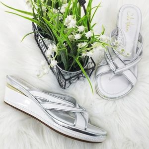Cole Haan Nike Air White Leather Platform Sandal